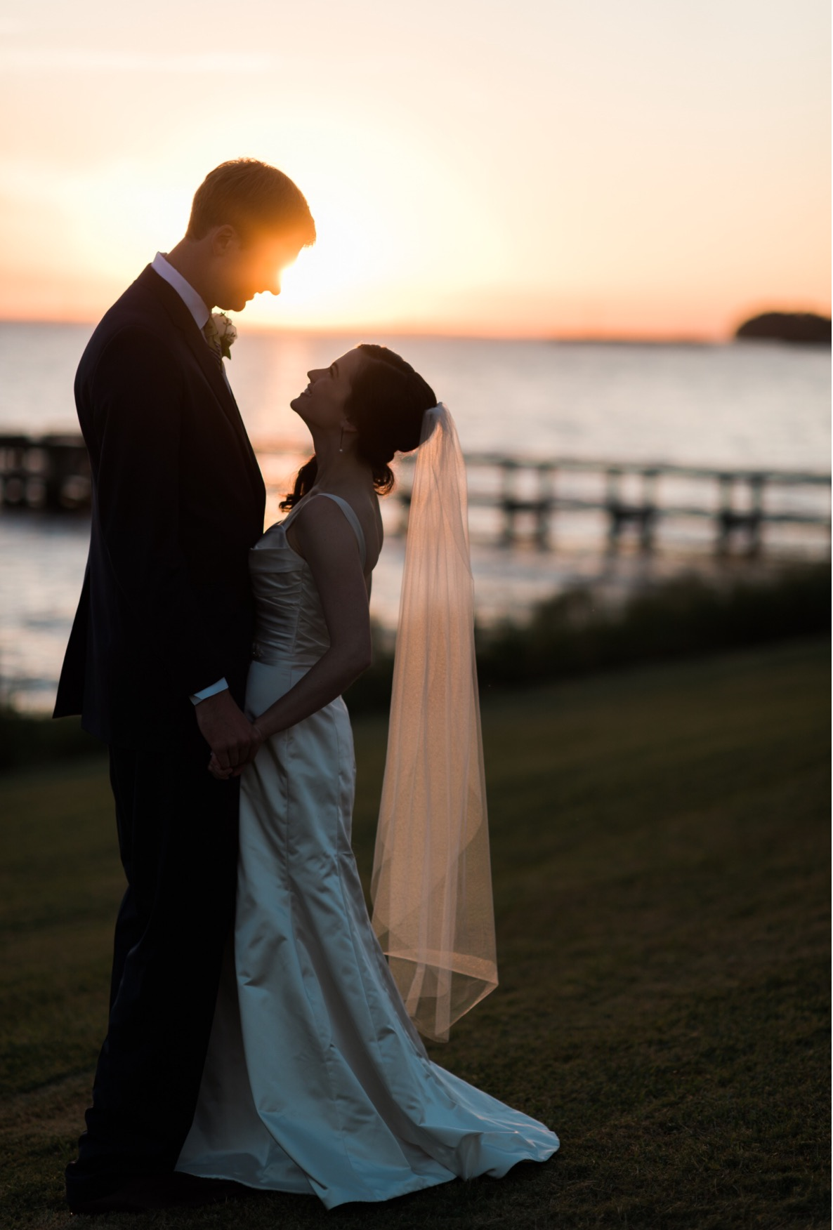 North Carolina wedding venues - waterfront sunset