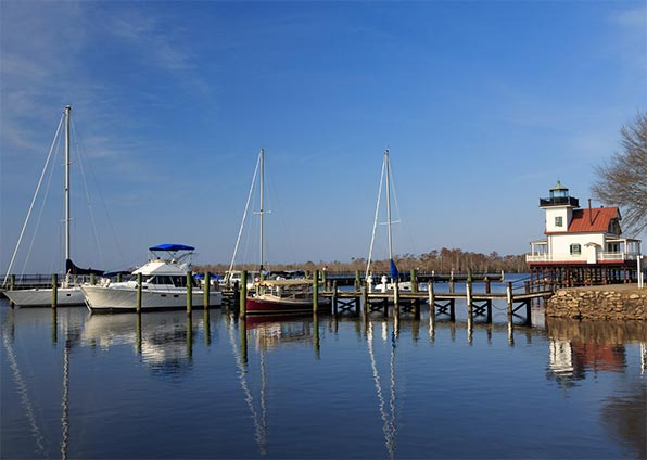 View of boats on the  Albemarle Sound