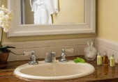 Romantic North Carolina Bed and Breakfast - Sink and vanity in the Chowan Room, ADA Accessible