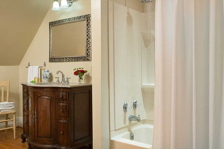Harriet Jacob Suite at our Edenton Inn view of the bathroom with shower, antique bureau with sink