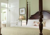 Close view of the bed from the footer of the Joseph Hewes Suite, at our B&B in North Carolina