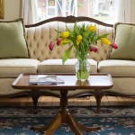 Two room Suite for your Romantic North Carolina Vacation, details of couch and coffee table with vase of tulips