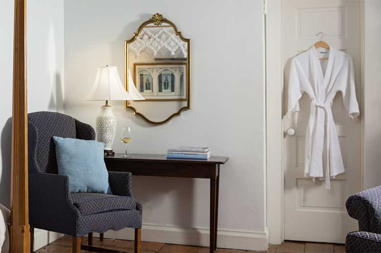 North Carolina East Coast B&B Queen Anne Suite robe, chair and mirror detail