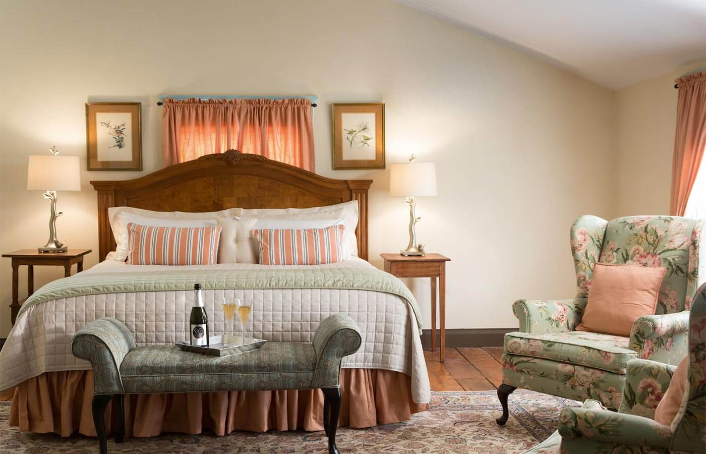 Romantic North Carolina Inn a Large room, King bed with foot bench, wine tray and highback wing chairs - Large suite perfect for honeymoons