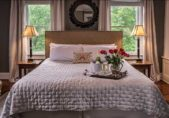 North Carolina B&B Honeymoon Suite, King bed, Champagne on ice, vase with red roses