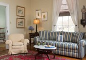 Romantic North Carolina Lodging - Pet Friendly - Big Sitting Room with Couch and comfortable chair and coffee table