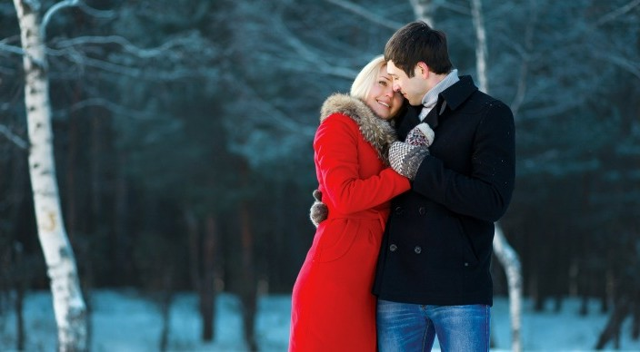 Lovely Couple In Love, Tenderness, Winter Day