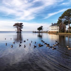 Albemarle Sound view of our wedding venue on the water