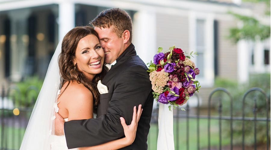 Bride and Groom hugging at a Wedding in Edenton
